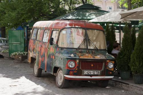 Hippie bus in the center of Lviv
