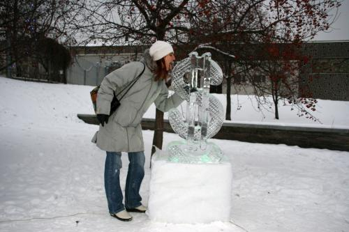 Ice sculpture park in Kyiv