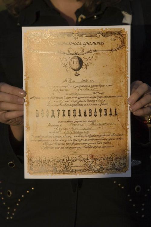 Сертификат воздухоплавателя