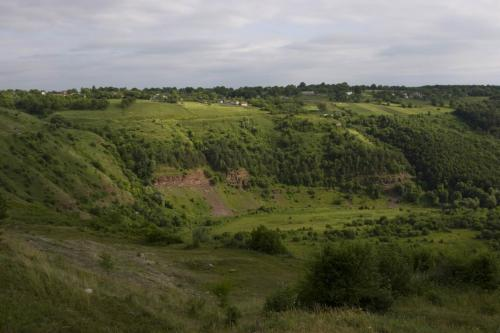 Valley where the castle ruins are located.