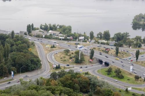 Road interchange on the Naberezhne (Waterfront) Highway