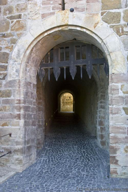 Entrance to the castle through a long tunnel