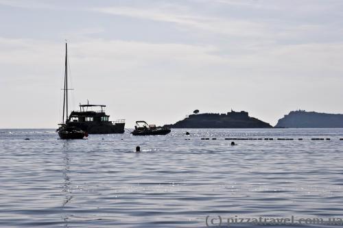 Вид на остров Мамула с пляжа Жаниц