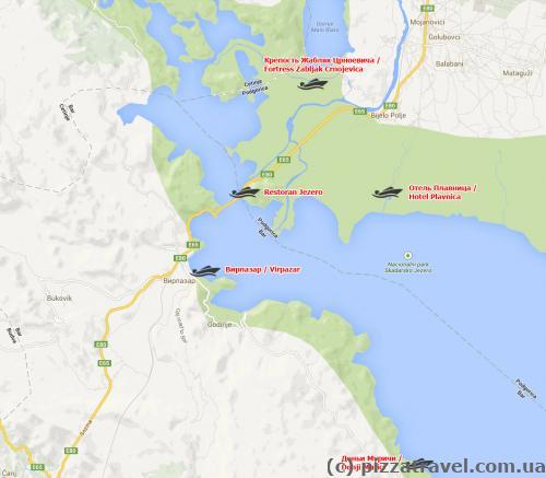 Скадарське озеро. Карта