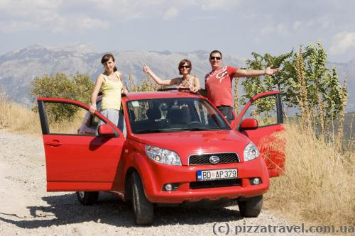 Our rented car in Montenegro