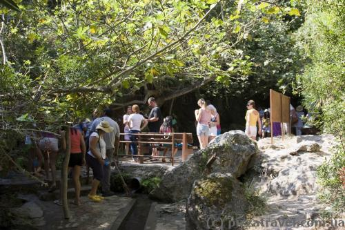 There are often crowds near the Baths of Aphrodite.