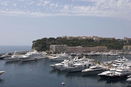 View of the harbor and old city in Monaco