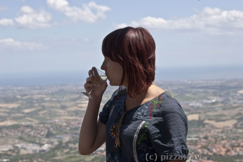 A glass of wine in San Marino