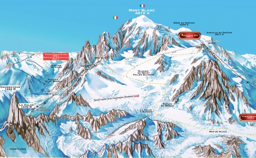 Map of cableways near Mont Blanc
