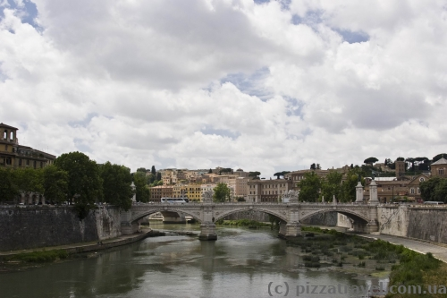 View of the Tiber River and Bridge of Victor Emmanuel II
