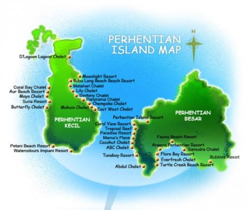 Карта отелей на островах Перхентиан