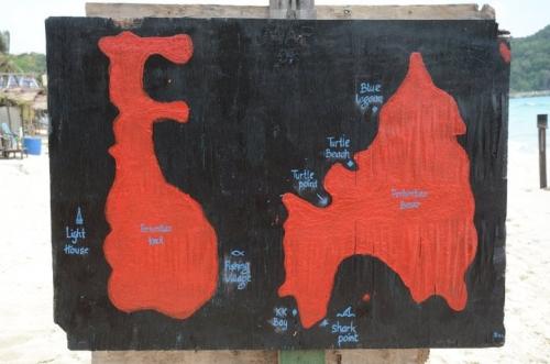 Карта мест для снорклинга на островах Перхентиан