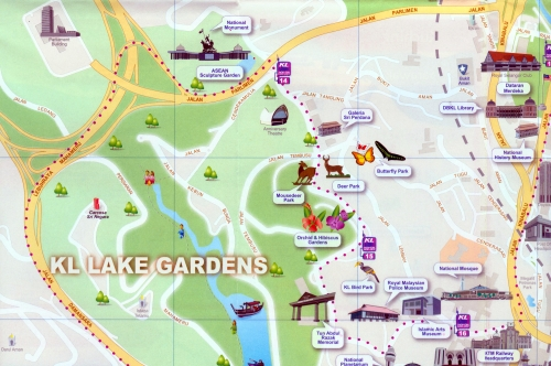 Карта парка Lake Gardens в Куала-Лумпур