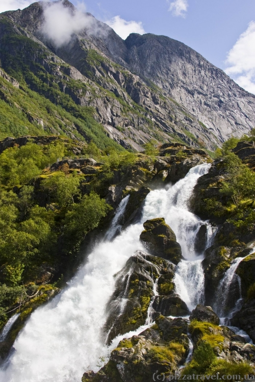 Waterfall near the Briksdal Glacier