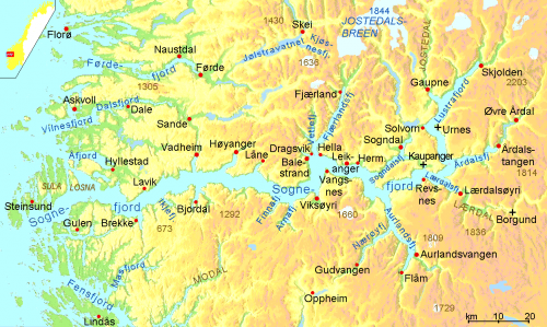 Map of the Sognefjord