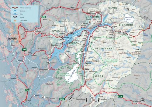 Карта Хардангерфьорда