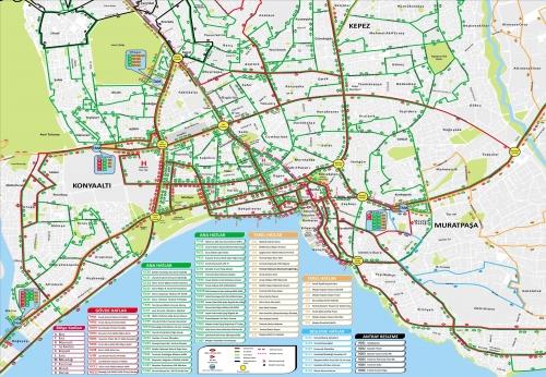 Карта автобусных маршрутов Анталии