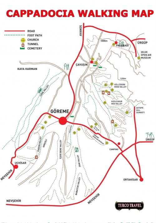 Карта пешеходных троп в Каппадокии