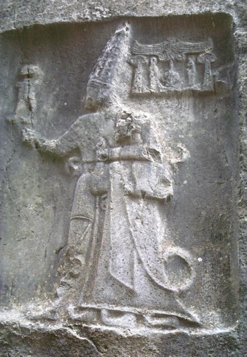 Rock carving in Chamber B depicting god Sharruma and King Tudhaliya dated to around 1250 - 1220 BC