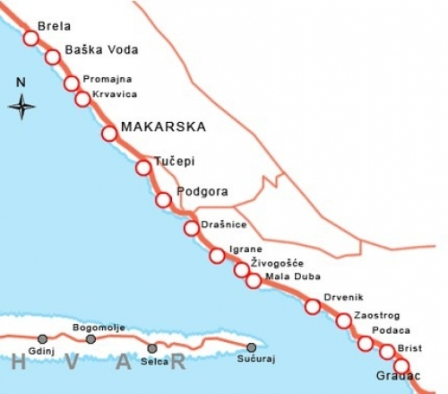 Карта Макарской ривьеры