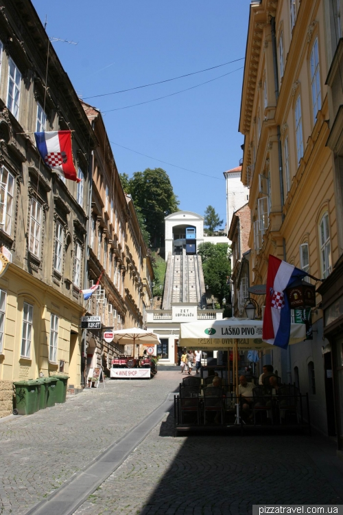 Cable car on the Tomicheva street in Zagreb