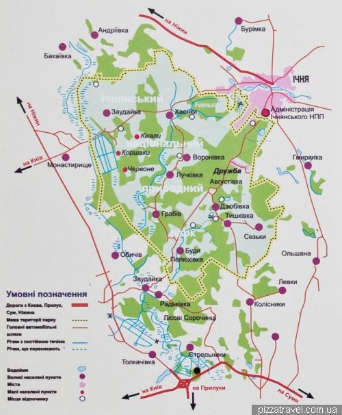 Карта ичнянского национального природного парка