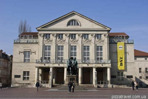 Theatre and monument to Goethe and Schiller in Weimar