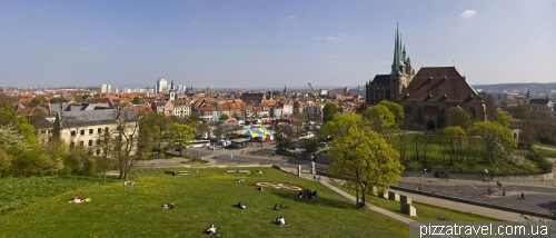 View of the Cathedral square from the Petersberg fortress