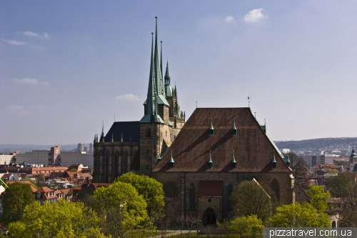 View of the cathedrals from the Petersberg Fortress
