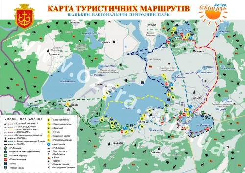 Туристическая карта Шацких озер