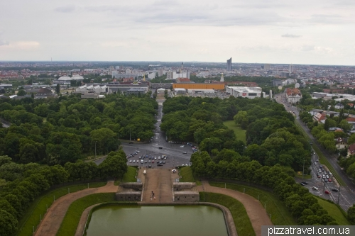 The view from the observation deck at the Monument to the Battle of the Nations in Leipzig