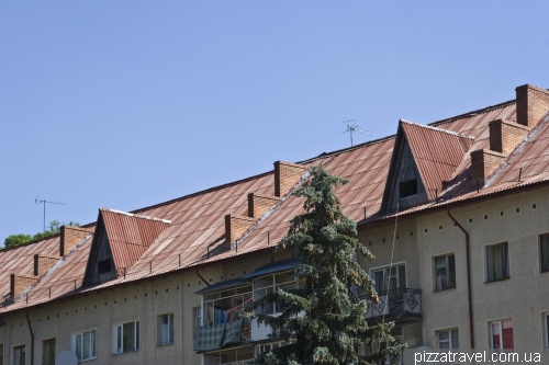Typical Carpathian roof in Kosiv