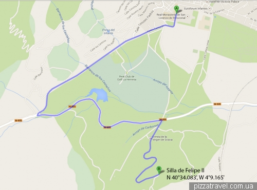 Map to Silla de Felipe II
