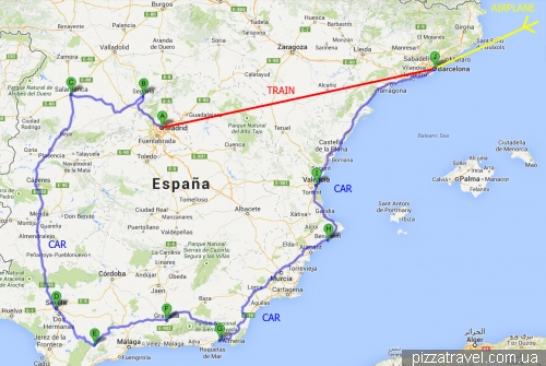 Маршрут по Испании