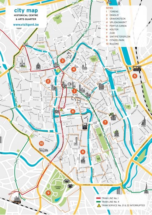Туристическая карта Гента
