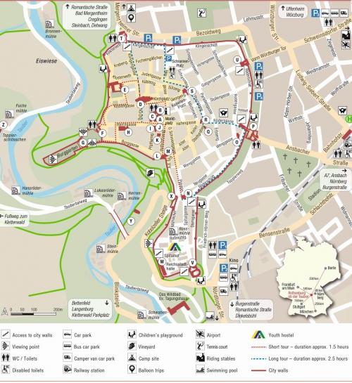 Карта города Ротенбург-на-Таубере