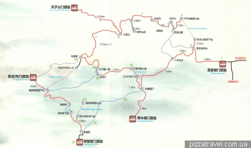 Bus map in Wulingyuan