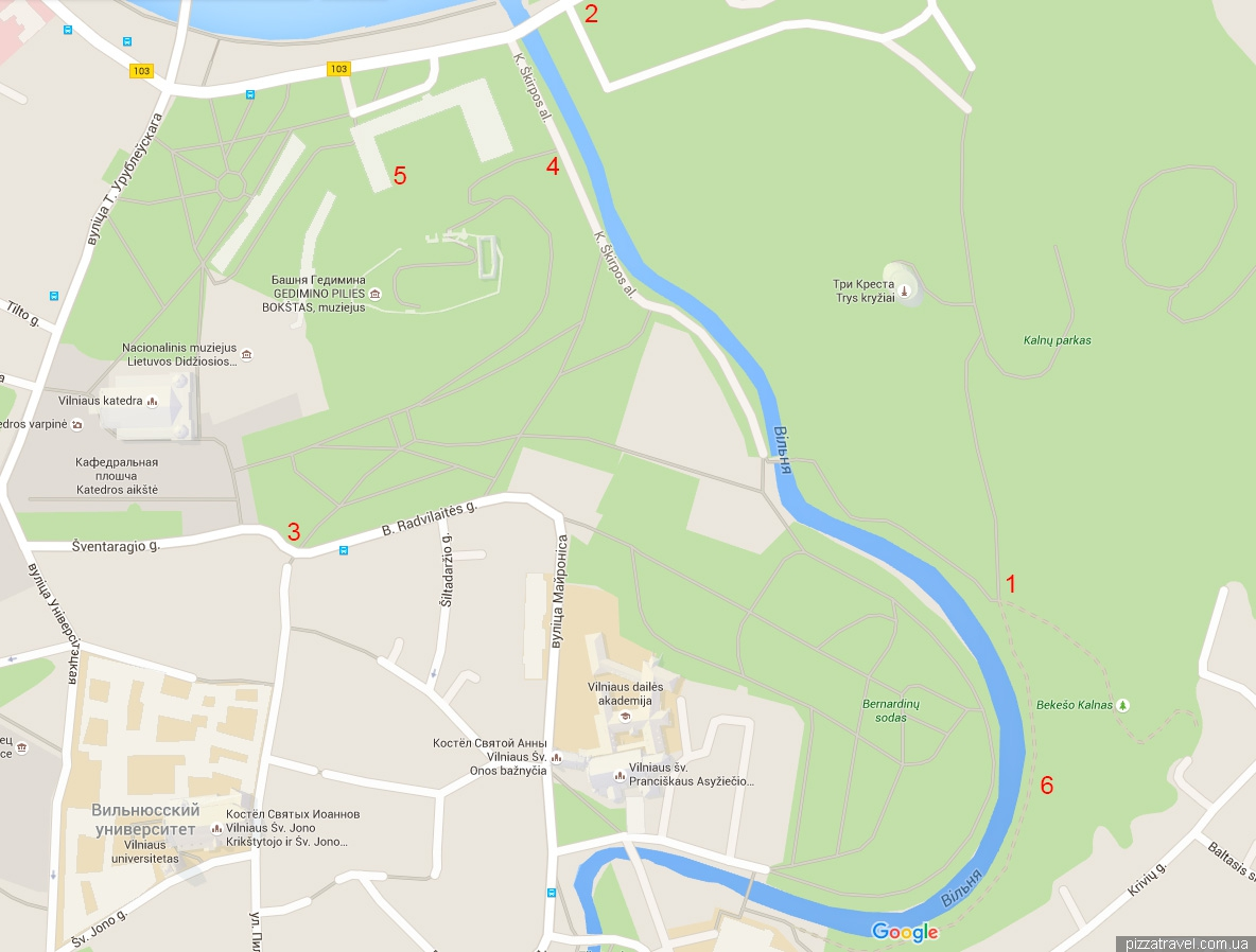 Vilnius: Map of interesting places of the capital of Lithuania