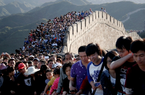 The sea of tourists at Badaling section