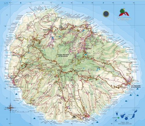 Map of the island of La Gomera