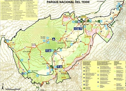 Карта пешеходных маршрутов в Национальном парке Тейде