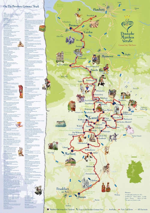 Карта дороги сказок в Германии