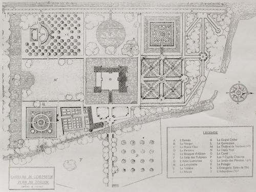 Plan of the Cormatin castle park