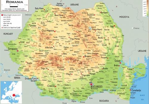 Физическая карта Румыния