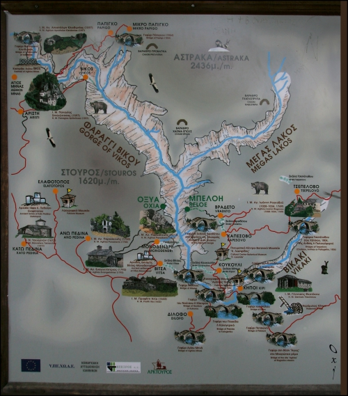 Map of Vikos Gorge and bridges