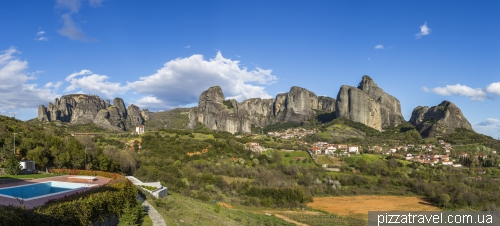 View from the hotel to Meteora Monasteries