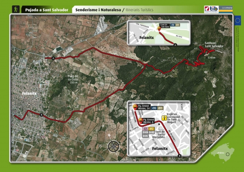 Map of the walking route to the monastery of San Salvador