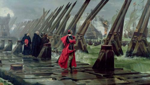 Кардинал Рішельє на облозі Ла-Рошелі (Анрі Мотта, 1881)