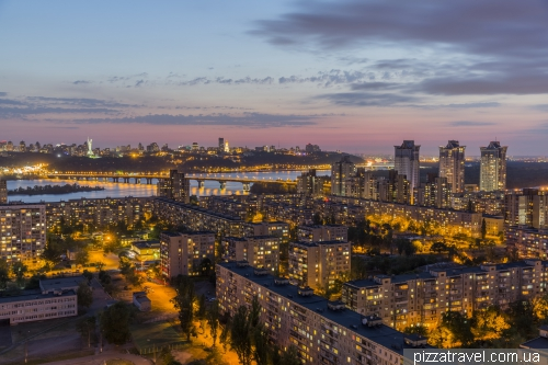 Sunset in Kiev from high-rise building on the left bank