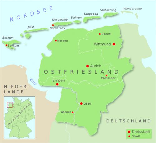 Карта Восточной Фризии